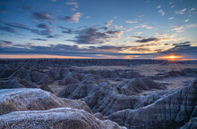 Sunrise Over The Badlands, Badlands National Park, South Dakota, United States Of America, North America