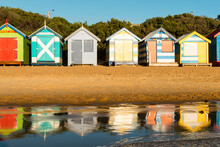Bathing Boxes (beach Huts), Brighton, Port Phillip Bay, Victoria, Australia, Pacific