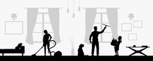 Family Cleaning Living Room. Black Silhouette Of Housework Scene. Domestic Work. People Tidy Home. Horizontal Image Of Flat Sweeping. Vector Illustration