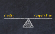 Balance Between Rivalry And Cooperation. Chalkboard Drawing.