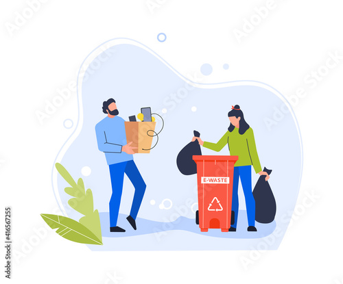 Fototapety, obrazy: People trow old gadget in e-waste bin. Bin recycling electronic, dump with hardware, digital pollution with rubbish utilization. Vector illustration
