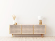 Living Room Interior Wall Mockup In Minimalist Japandi Style With Caned Console, Wicker Basket Lamp And Dried Pampas Grass In Ceramic Vase On Empty Warm White Background. 3d Rendering, 3d Illustration