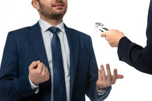 Cropped View Of Anchorwoman Interviewing Businessman With Dictaphone Isolated On White