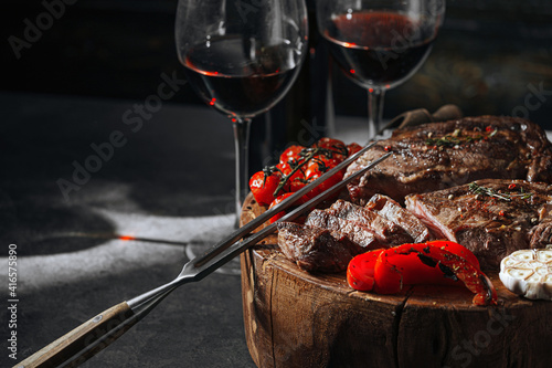 dinner for two with steaks and red wine © Mikhaylovskiy