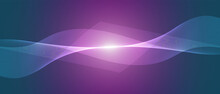 Abstract Blue And Purple Light Technology Wave Design, Digital Network Background, Vector Communication Concept