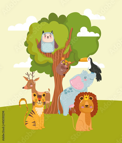 Fototapeta premium Animals tree cartoon