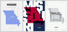24 Of 50 Sets, US State Posters With Name And Information In 3 Design Styles, Detailed Vector Art Print Missouri Map