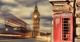 Fototapeta Big Ben - London symbols with BIG BEN, DOUBLE DECKER BUSES and Red Phone Booths in England, UK