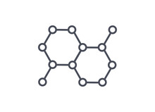 Organic Molecule Structure Web Icon For Science Laboratory Or Chemistry Themes Showing The Spatial Orientation Of Chemical Bonds And Atoms, Line Drawn Vector Illustration Isolated On White Background