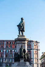 Statue Of The Giuseppe Garibaldi In Naples, Italy