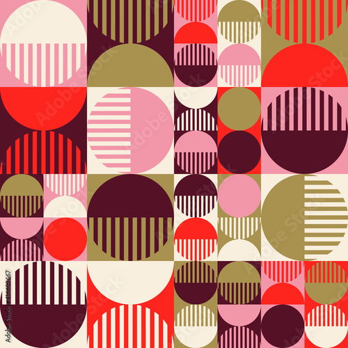 Fototapeta Modern vector abstract seamless geometric pattern with shapes, lines and element