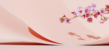 Minimal Mockup Background For Product Presentation. Curve Podium And Pink Cherry Blossom Flower On Pink Background. Clipping Path Of Each Element Included. 3d Rendering Illustration.