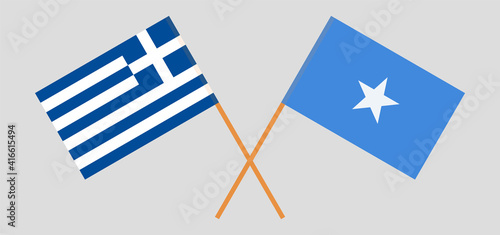 Foto Crossed flags of Greece and Somalia