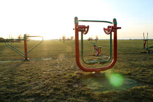 The Public Fitness Area Or Playground For Adults And Children. They Can  Do Excersices Outside On Fresh Air.
