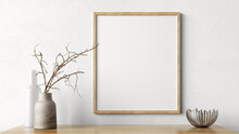 Wooden Mock Up Poster Frame On White Wall Above The Shelf. Home Decor With Vases. Living Room Interior Background 3d Rendering