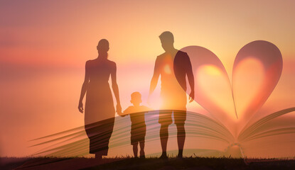 Family holding hands walking together.  People religion and worship concept.