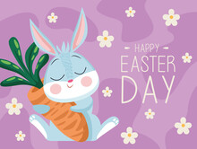Happy Easter Lettering Card With Cute Rabbit Hugging Carrot