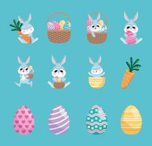 Bundle Of Twelve Happy Easter Set Icons