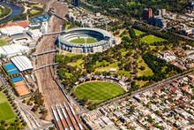 Aerial View Of The Melbourne Sports Precinct Inclusing The MCG In Melbourne, Victoria, Australia.
