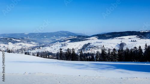 Fototapeta Widok panorama gór zimą obraz