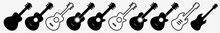 Guitar Icon Acoustic Guitar Country Set | Guitars Icon Classical Vector Illustration Logo | Electric Guitar Bass Guitar Icon Isolated Collection