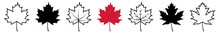 Maple Leaf Icon Canada Maple Leaf Set | Maple Leaves Icon Canadian Vector Illustration Logo | Maple-Leaf Icon Isolated Maple Leaf Collection