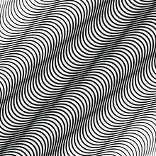 Abstract Black Pattern With Wave Illusion. Vector Illustration. Geometric Art. Black Oblique Background. Modern Stylish Texture. Design Element For Web, Prints, Template And Textile Pattern