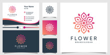 Flower Beauty Logo Template And Business Card Premium Vector
