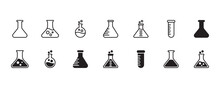 Erlenmeyer Flask Chemistry Beaker Icon Set. Vector Graphic Illustration. Suitable For Website Design, Logo, App, Template, And Ui.