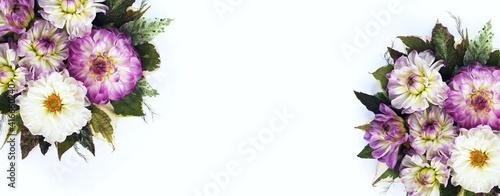 Billede på lærred Lilac and white dahlias on a white background