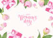 Happy Womens Day. 8 March design template. Calligraphic lettering text with decorative gift box and tulip flowers. Flat lay. Vector stock illustration