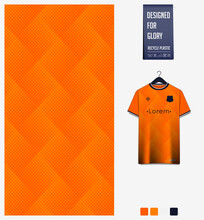 Fabric Pattern Design. Geometric Pattern On Orange Background For Soccer Jersey, Football Kit Or Sports Uniform. T-shirt Mockup Template. Sport Abstract Background.