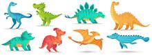 Cartoon Dino Cute Dinosaur Funny Ancient Brontosaurus Green Triceratops