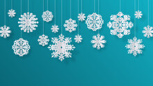 Paper Cut Snowflakes Christmas Isolated Filigree Decoration Elements Winter Snow Abstract Background Vector 3D Isolated White Paper Snowflakes Hanging Decor