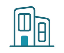 Office Building Working Space Single Isolated Icon With Solid Line Style