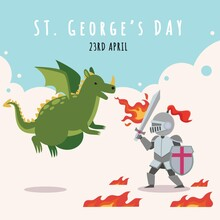 Cartoon St Georges Day Illustration With Dragon Knight