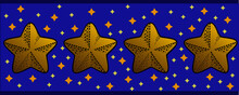 Border With A Vector Illustration Pattern, Five-pointed Stars On A Blue Background