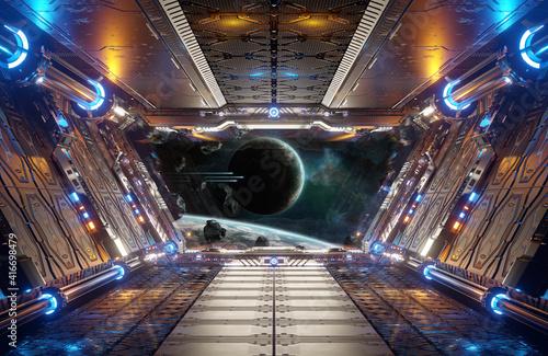 Fotografija Orange and blue futuristic spaceship interior with window view on distant planet