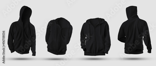Obraz Set of mockups of black 3D rendering hoodie with zipper fastener, pocket, blank sweatshirt isolated on background, front, back view. - fototapety do salonu