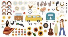 Hippie Big Set. Vintage Vector Illustration.