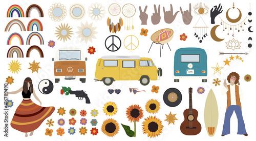 фотография Hippie big set. Vintage vector illustration.