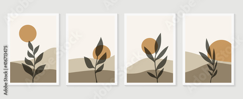 Mountain and Botanical wall art vector set. Earth tones landscapes wallpaper. Oasis Tropical backgrounds collection with mountain, sand, palm,Twigs leaf, moon or sun. Vector illustration. - fototapety na wymiar