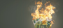 Burning Money - 100 Euro Banknotes On Fire
