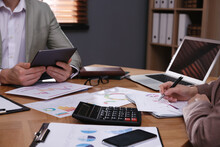 Business People Working With Documents At Table In Office, Closeup. Investment Analysis