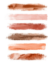 Watercolor Terracotta Brush Strokes Isolated On White Background. Abstract Collection, Elements For Design.