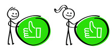 World Compliment Day Green Stickman, Compliments Oke Like Hand Thumb Up, Thumbs Down Okay Or Super Good. Vector Okey Hands Unlike Or Dislike Don't, Dont Or Yes, No Finger. Cartoon Stick Figures Man