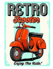 Retro Scooter With Vespa Motorbike Vector Design