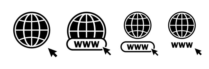 Www vector icons. Www icons collection. Web site icons. Www icons with hand cursor in flat design. Vector illustration