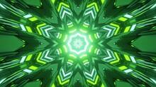 3D Illustration Of Green And Yellow Kaleidoscope Pattern With Bright Illumination