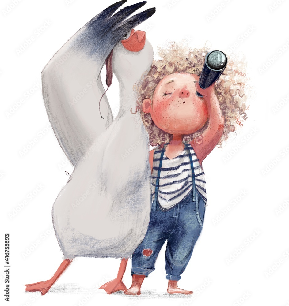 Fototapeta curly cute girl with an albatross character